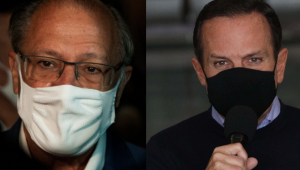 Rosto de Alckmin e de Doria, ambos de máscara