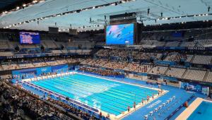 Piscina onde são disputadas as provas da natação nos Jogos Olímpicos de Tóquio 2020