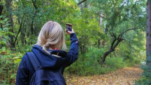 mulher fazendo selfie numa floresta