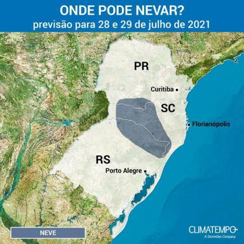 Mapa da previsão de neve para a região Sul do Brasil
