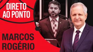 Montagem do letreiro do Direto ao Ponto ao lado de foto de Augusto Nunes e senador Marcos Rogério