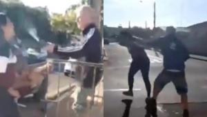 Dois frames de homem jogando ácido em mulher