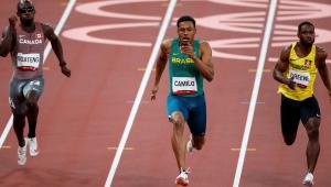 Paulo André, ao centro, está fora da final dos 100 m nos Jogos Olímpicos de Tóquio