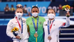 Rebeca Andrade foi medalha de ouro no solo da ginástica em Tóquio