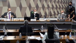 Homens ocupam mesa de comissão do Senado