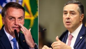 Montagem de fotos Ministro Luis Roberto Barroso, homem de terno e cabelo curto grisalho, e Jair Bolsonaro, homem de terno, na frente de um microfone e cabelos curtos grisalhos. Os dois tem semblante sério
