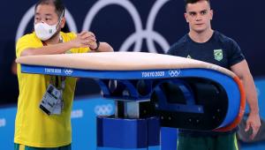 Caio Souza não conseguiu pegar medalha na final do salto nos Jogos de Tóquio