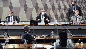 Bancada da CPI da Covid-19 durante oitiva do deputado Ricardo Barros