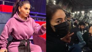 Montagem com Aryana Sayeed em um programa de TV e dentro do avião de carga