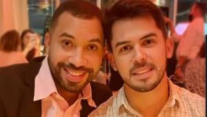Gilberto Nogueira e Plínio Vasconcelos sorrindo