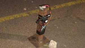 Imagem de perto de um dos explosivos colocados pela quadrilha que atacou Araçatuba