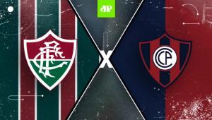 Arte da Jovem Pan com o logo do Fluminense à esquerda e do Cerro Porteño à direita