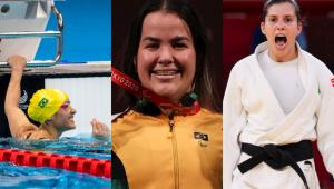 Montagem com fotos das atletas Carol Santiago, Mariana D'Andrea e Alana Maldonado