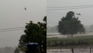 Duas imagens de uma aeronave do Exército caindo no município de Careiro da Várzea, em Manaus