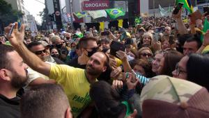 Eduardo Bolsonaro em manifestação na avenida Paulista