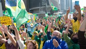 Protesto pelo voto impresso e favorável ao governo de Jair Bolsonaro na Avenida Paulista em São Paulo