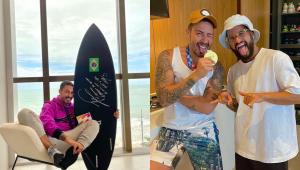 Italo Ferreira presenteia Carlinhos Maia com prancha usada ao ganhar medalha de ouro nas Olimpíadas