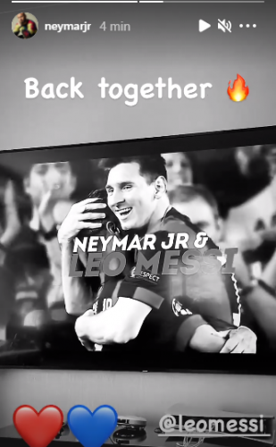 Neymar comemora o acerto de Messi com o PSG