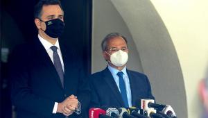 Presidente do Senado, Rodrigo Pacheco, ao lado do ministro da Economia, Paulo Guedes