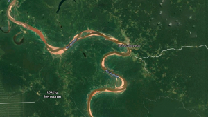 imagem aérea de trecho do rio huallaga