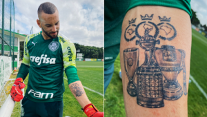Weverton, goleiro do Palmeiras, tatuou taças da tríplice coroa