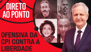 Montagem com o logo do Direto ao Ponto e quatros rostos dos entrevistados no fundo e o de Augusto Nunes em evidência à frente