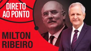 Montagem rostos de ministro Milton Ribeiro e Augusto Nunes com o nome do programa Direto ao Ponto