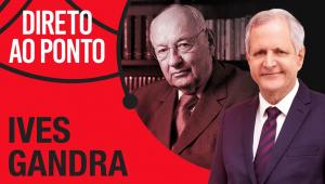 Montagem da capa do programa Direto ao Ponto com fotos de Ives Gandra Martins e Augusto Nunes