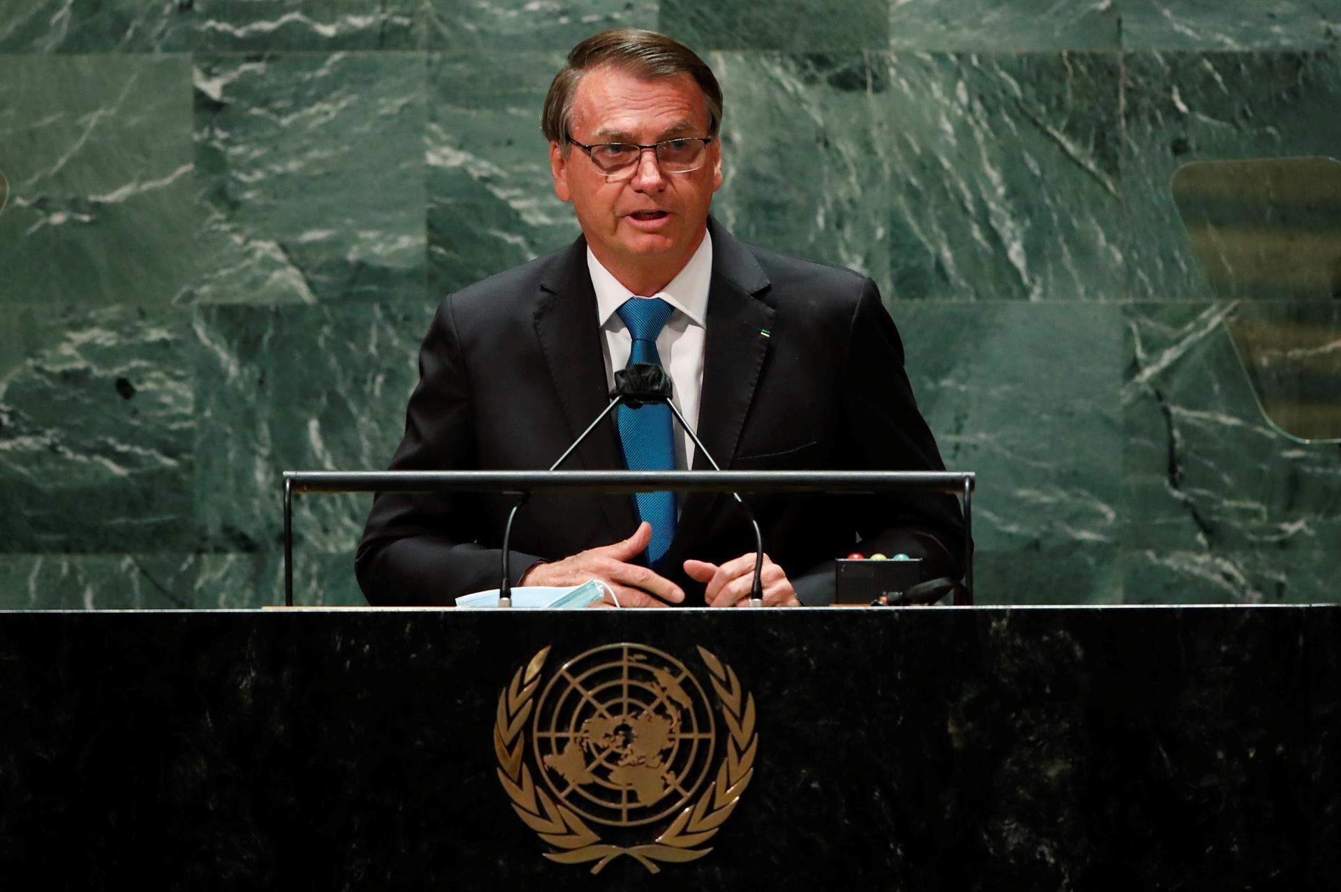 O presidente Jair Bolsonaro discursando na ONU