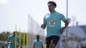 Jogador Marquinhos no treino da Seleção Brasileira no CT do Corinthians.