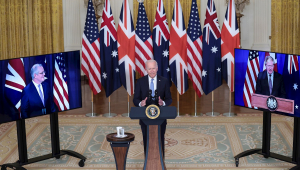 Presidente Joe Biden em anúncio sobre aliança militar