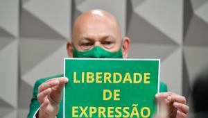 Luciano Hang em sessão na CPI segurando uma placa verde escrito em amarelo 'Liberdade de Expressão'. Usa um terno e uma máscara verdes