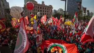 Manifestantes se reuniram no Vale do Anhangabaú, em São Paulo, para protestar contra o governo Bolsonaro, neste dia 7 de setembro de 2021