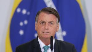 Presidente da república, Jair Bolsonaro, durante cerimônia no Palácio do Planalto