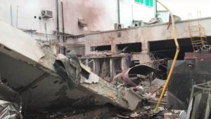 Destroços da fábrica de pastilhas Walda no Rio de Janeiro