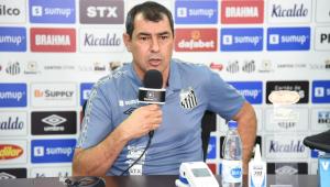 Fábio Carille durante apresentação no Santos
