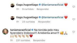 Comentário de Tânia Mara na publicação de Tiago