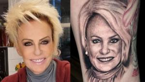 Montagem com foto de Ana Maria Braga e da tatuagem