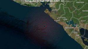 mapa mostrando ponto de terremoto na Nicarágua