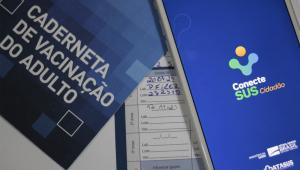 Imagem com cardeneta de vacinação de adulto e com um celular aberto no aplicativo ConecteSUS