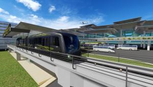 Imagem do trem People Mover que viabiliza ligação ferroviária ao Aeroporto de Guarulhos