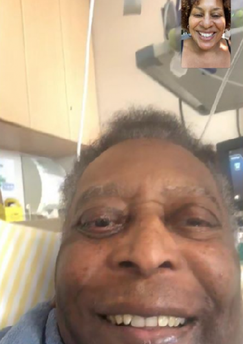 Kely Nascimento, Pelé's daughter, made a video call with Rei at the hospital