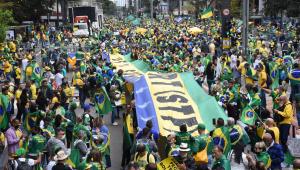 Avenida Paulista com manifestantes a favor do Bolsonaro