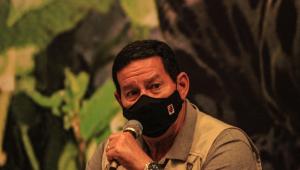 O vice-presidente Hamilton Mourão durante coletiva sobre Viagem do Conselho Nacional da Amazônia Legal