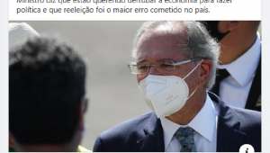 """Reprodução de uma publicação da Jovem Pan no Facebook sobre a entrevista do ministro Paulo Guedes ao """"Os Pingos nos Is"""", com a foto dele"""