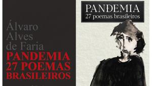 """Capas do livro """"Pandemia – 27 Poemas Brasileiros"""", de Álvaro Alves de Faria; a do lado esquerdo traz o título e o nome do autor, e a do lado direito, o esboço de uma pessoa"""