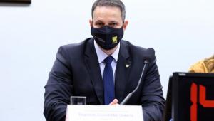 O deputado Guilherme Derrite na Comissão de Constituição e Justiça e de Cidadania (CCJ)
