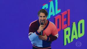 O apresentador Marcos Mion no Caldeirão