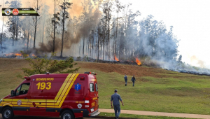 Corpo de Bombeiros atua para conter fogo após queda de avião