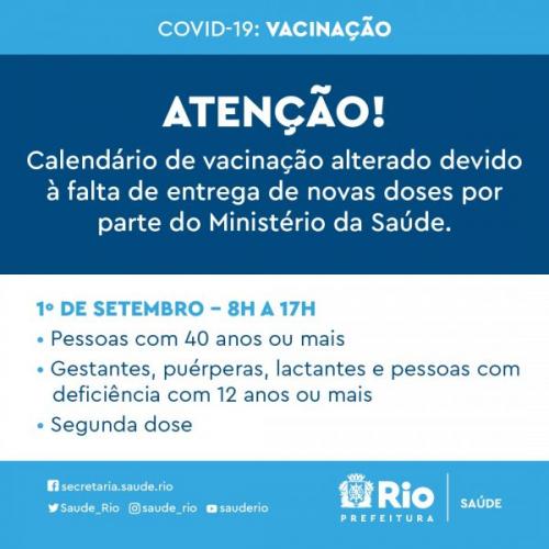Calendário de vacinação desta quarta-feira, 1º de setembro, para o município do Rio de Janeiro